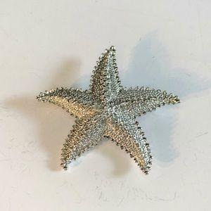 Vintage GERRY'S Silver Tone Starfish Brooch Summer